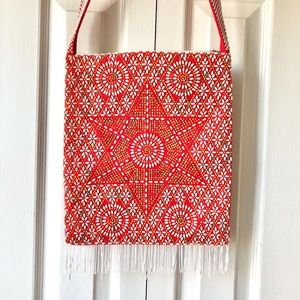 Vintage Beaded Purse Red Shoulder Bag with Tassels